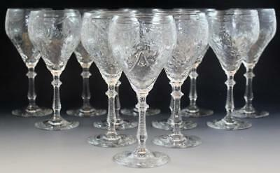 Hawkes American Brilliant Cut Crystal Glass Set of 12 Water Red Wine Glasses NR