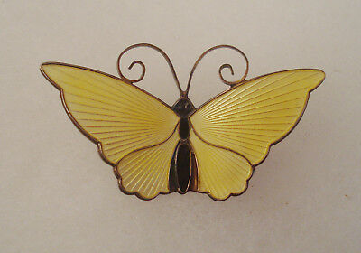 Vintage David Andersen Sterling Silver and Yellow Enamel Butterfly Pin Norway