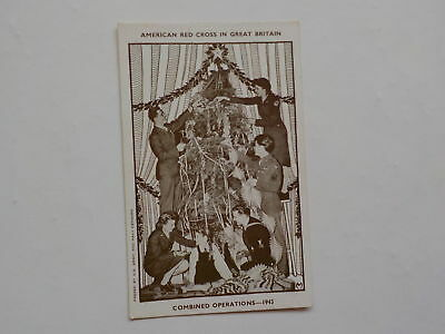 WWII Postcard Christmas Tree American Red Cross In Great Britain WW2 Post Card N