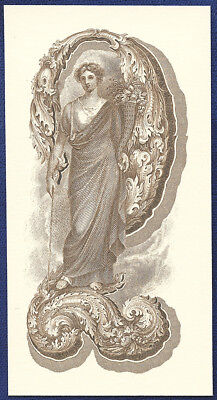 """AMERICAN BANK NOTE Co. ENGRAVING: LARGE """"TWO"""" WITH ALLEGORY STANDING"""