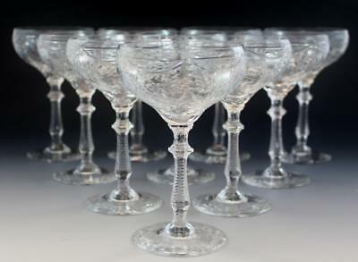 Hawkes American Brilliant Cut Crystal Glass Set of 10 Coupe Champagne Glasses NR