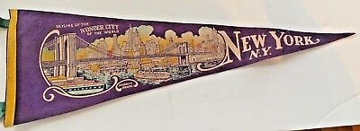 Felt Pennant Skyline of The Wonder City of the World. New York, N.Y.
