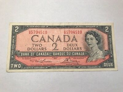 1954  $ 2 Dollars Bank Of Canada Banknote  Bc-38d