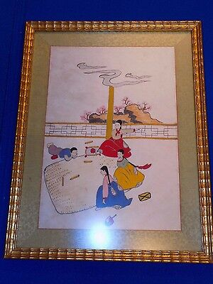 "Vintage Antique Korean Silk Embroidery Framed Panel Hand Stitched 17.5"" x 13.5"""