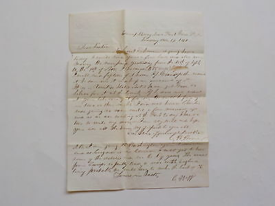 Civil War Letter 1861 Camp Mary Fort Good Hope Gold Silver Money Notes VTG Old N