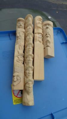 4 Unfinished Wooden Figures Heads Totem Poles 1.5x1.5 & from 7 to 15 T crafting