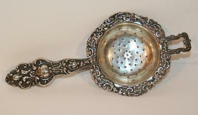 Antique Repousse' Sterling Silver Tea Strainer, Marked and #1230