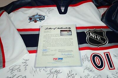 NHL 2001 All Star Jersey Signed Autograph Bourque Lemieux Leetch Brodeur PSA COA