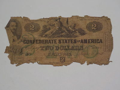 Civil War Confederate 1862 2 Bill Dollar South Strikes Down North Paper Money CS