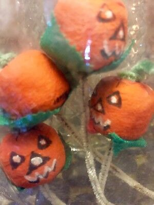 Vintage Japan Spun Cotton Jacko Lantern Pumpkin Party Favors Halloween MINT