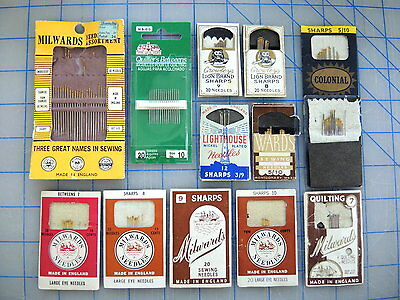 Lot of 12 vintage hand sewing needle packs w/ assorted size needles England