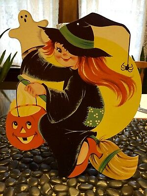 Vintage Diecut Cutout Girl Witch Red Hair Liddle Kiddle Big Eyes