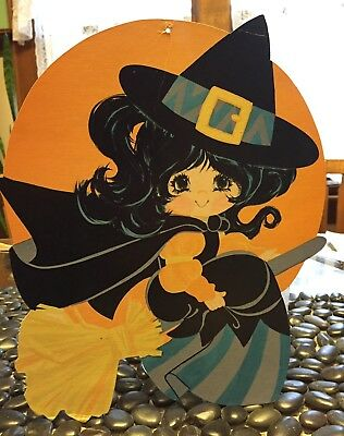 Vintage DieCut Cutout  Girl Witch Liddle Kiddle Big Eyes Dark Hair