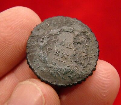 1826  Half Cent Spur Rowell Dug In Confederate Camp Near Fort Fisher Nc.