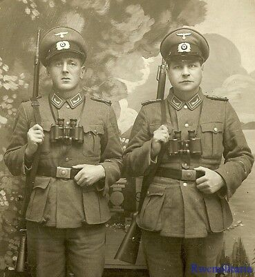 Port. Photo: RARE Studio Pic Pair German Customs-Zoll Polizei Officers w/ Rifles