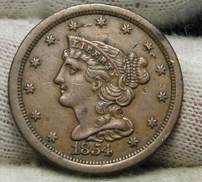 1854 Braided Hair Half Cent - Rare Only 55,358 Minted . Nice Coin (6503)