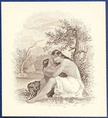 AMERICAN BANK NOTE Co. ENGRAVING: INDIAN WOMAN & CHILD