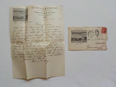 Antique Letter 1908 Jewell Iowa Illustrated Cover Stationary Edmund Oklahoma VTG