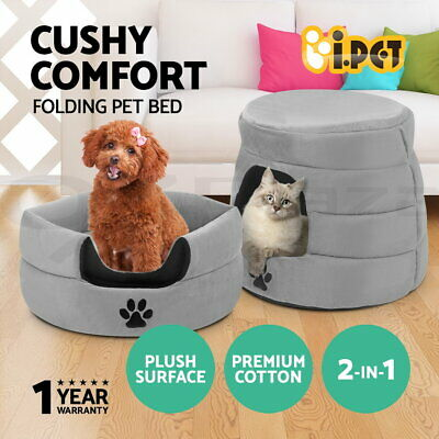 i.Pet Pet Bed Cat Sleeping House Kitten Pad Cat Dog Puppy Soft Cave Foldable