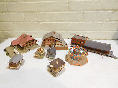 Lot of 8 N Scale Kibri Vollmer Houses Warehouses Marry-go-round and More!