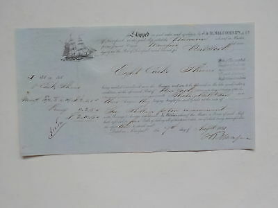 Ship Document 1851 Wisconsin Liverpool England Boat VTG Paper Maritime Europe NR