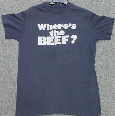 TRUE VINTAGE 80's  WHERE'S THE BEEF T-SHIRT Soft