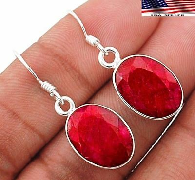 "10CT Earth Mined Ruby 925 Solid Sterling Silver Earrings Jewelry 1 1/2"" Long"