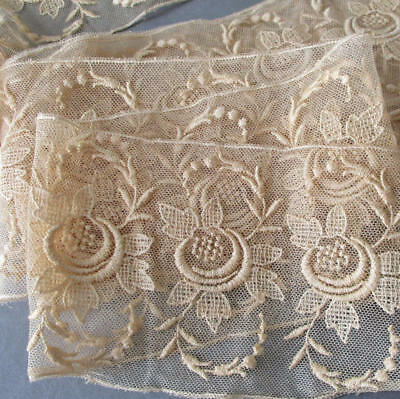 "Vintage Ecru Embroidered LACE Trim Insertion GUIPURE Flowers * 4"" Wide X 120"""