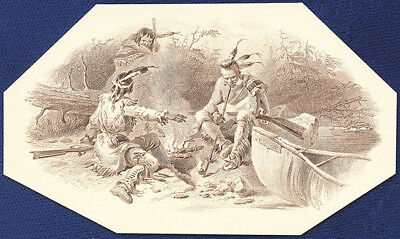 AMERICAN BANK NOTE Co. ENGRAVING: INDIAN CAMP
