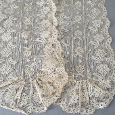 """Antique 19thC Delicate Blonde French LACE Scarf LAPPET or Sash * 50"""" X 6"""" Wide"""