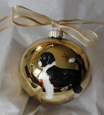 Portuguese Water Dog Black and White Hand Painted Christmas Ornament with Name