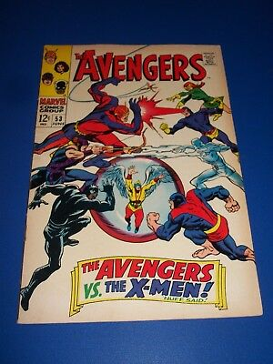 Avengers #53 Silver Age X-men vs Avengers Awesome cover Fine beauty Wow