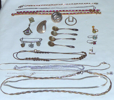 Huge 925 Sterling Silver Jewelry Lot Wear Scrap Bracelets Necklaces Spoons 95.9g