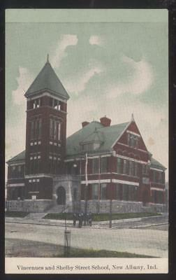 Postcard NEW ALBANY Indiana/IN  Local Area School w/Tall Bell Tower 1907