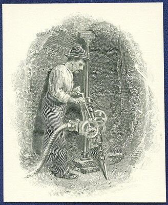 AMERICAN BANK NOTE Co. ENGRAVING: MINER WITH DRILL
