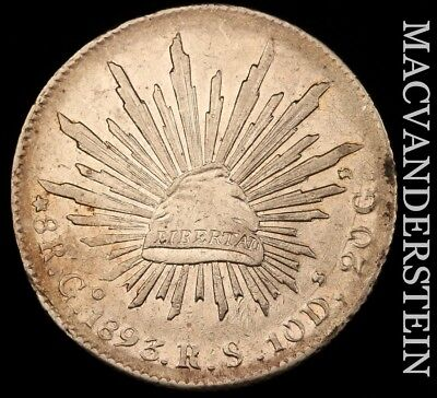 Mexico (2Nd Republic): 1893-Go,rs Eight Reales- Scarce !! Better Date !! #v9728