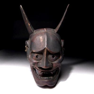 UN9: Antique Japanese Woodcarving Hannya Demon Mask, Natural wood, 19C