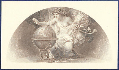 AMERICAN BANK NOTE Co. ENGRAVING: WOMAN WITH GLOBE BREAST EXPOSED