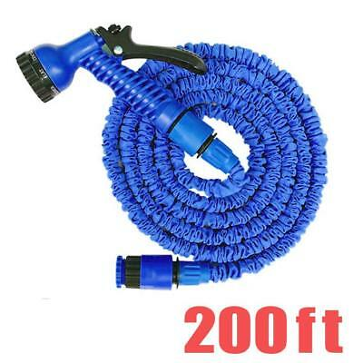 200 FT Feet Blue Latex Deluxe Expanding Flexible Garden Water Hose +Spray Nozzle