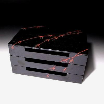 UP3: Japanese Lacuered Wooden Box for Sweets, Tea Ceremony, Willow Pattern