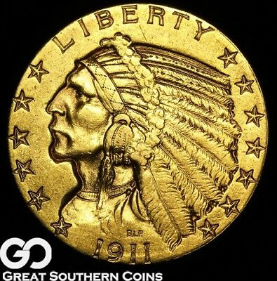 1911-S Half Eagle, $5 Gold Indian, Nice Collector Gold ** Free Shipping!