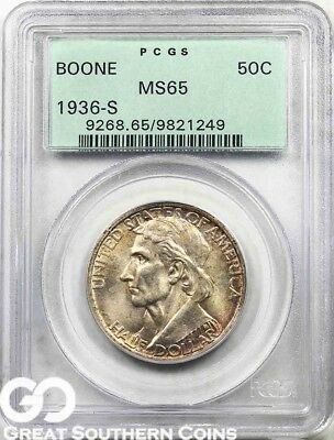 1936-S PCGS Boone Commemorative Half Dollar PCGS MS 65 ** Old Green Holder, Nice
