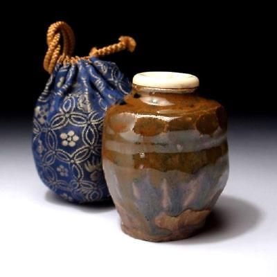 UK9: Japanese Hand-shaped Pottery Tea Caddy, Tanba ware with Cloth bag, Chaire