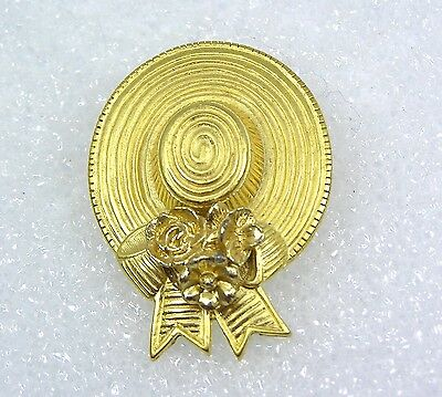 Vintage Estate Pin Brooch Gold Tone Ladies Hat Shape with Flowers and Ribbon