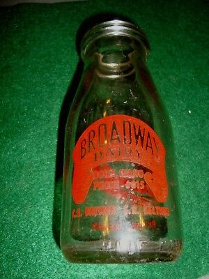 nice old pint bottle, broadway dairy boise idaho, red graphics, phone 6015