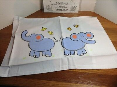 Liz Wain BABY INFANT PILLOWCASE OR THROW PILLOW COVER Elephants Cotton