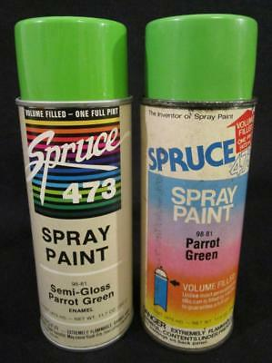 2 Vintage Spruce Parrot Green Spray Paint Can Jungle