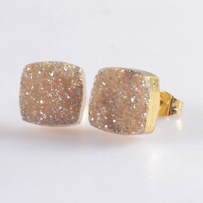 10mm Square Natural Agate Titanium Druzy Stud Earrings Gold Plated H103670