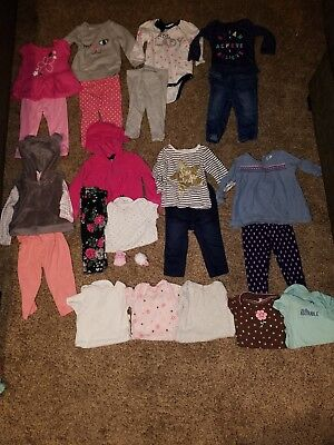 Infant Girls Size 6/9 6/12 Months Lot Outfits Jeans Hoodie Onsies Shirts Socks