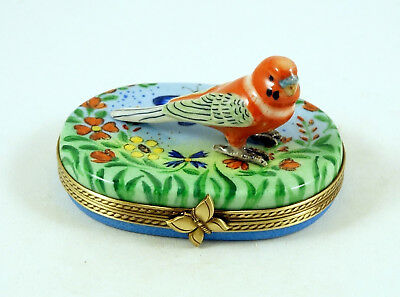 New French Limoges Box Cute Budgie Budgerigar Parrot Parakeet In Amazing Garden